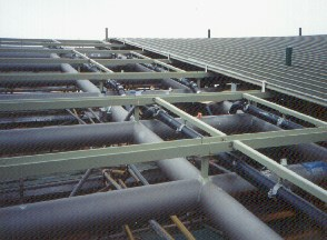 Black PE Vacuum pipe visible in roof prior to cladding